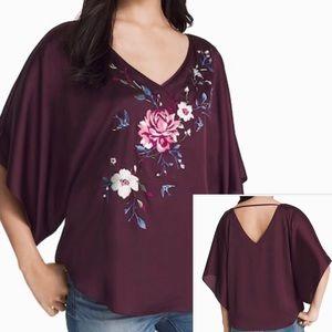 WHBM Burgundy Floral Embroidered Kimono Top Small